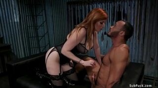 Natural large tits ginger-haired female domination Lauren Phillips in enrapturing black undergarments wanks pipe to black marionette Dillon Diaz then with strap on pipe pegs him in string restrain bondage
