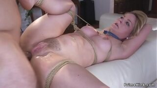 Blonde hostage tied up and rectal fucked