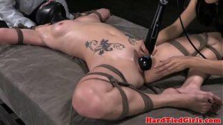 Spreadeagle tied up sub wand on bud
