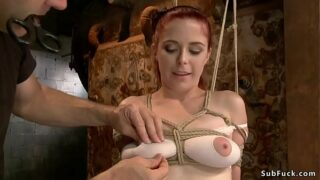 Tied bumpers red-haired gimp ass fucking toyed